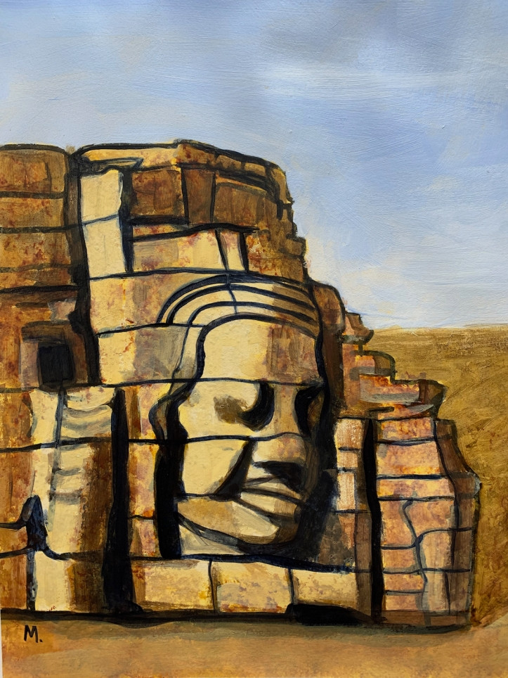 painting of stone ruins